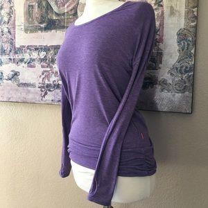 Lucy Purple Dolman Workout Long Sleeve Top Sz S
